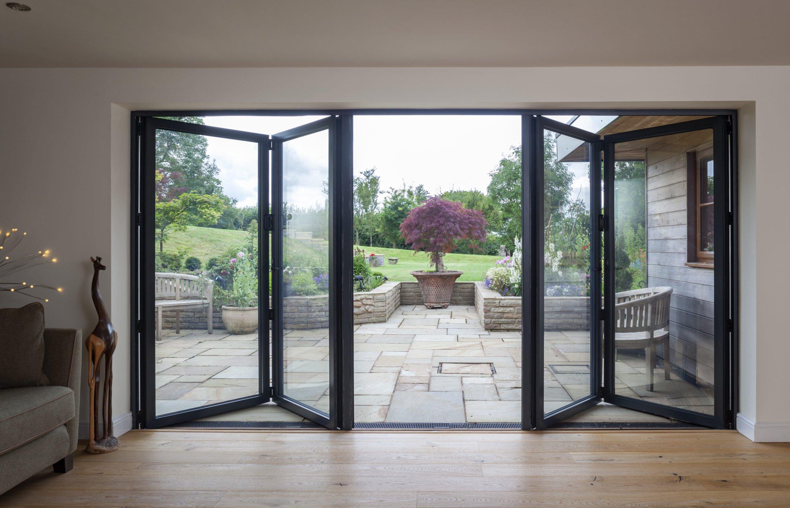 Black aluminium bifolding bespoke doors